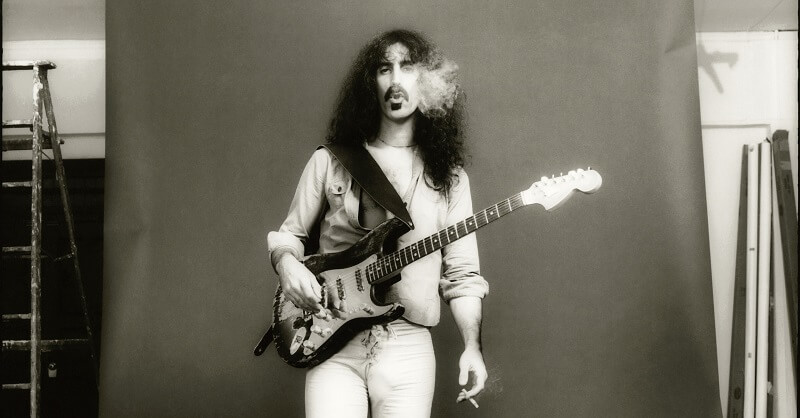 Frank Zappa with a Fender guitar