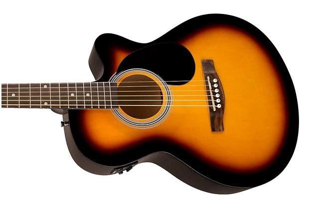 Fender FA135CE closeup black and orange