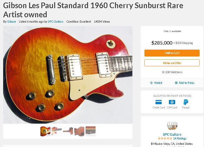 Photo: Les Paul Standard 1960 cherry sunburst for sale.