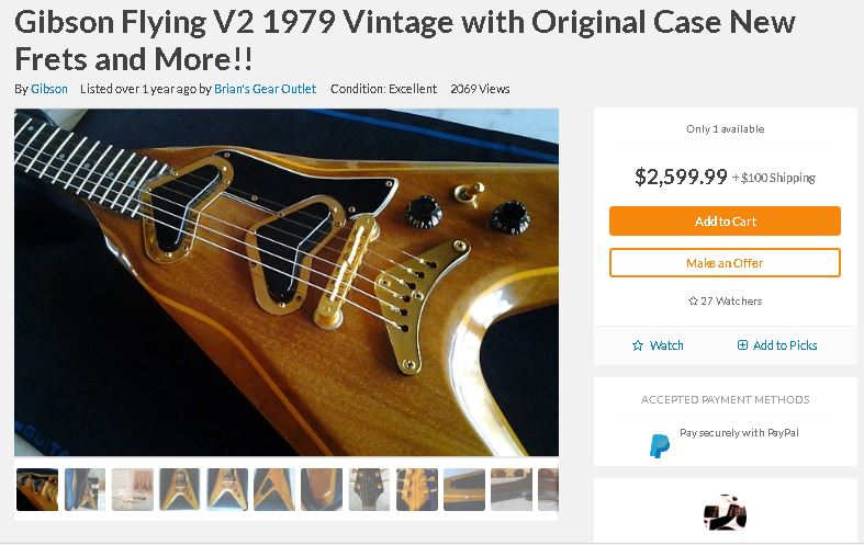 A remake of the Korina Flying V from 1979,
