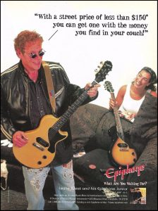 "Vintage ad for the Epiphone version of the Les Paul Jr. ""With a sreet price of less than $150* you can get one with the money you find in your couch."
