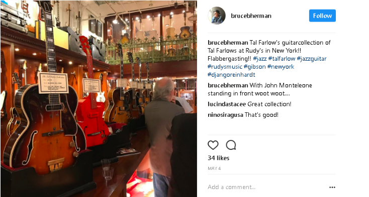 Photo of Tal Farlow's Gibson jazz guitar ES-350