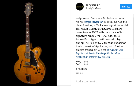 Photo of Tal Farlow's 1962 prototype for the Gibson signature model.