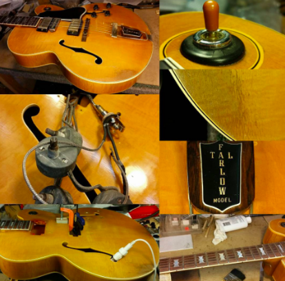 Photo with a Tal Farlow prototype being restored.