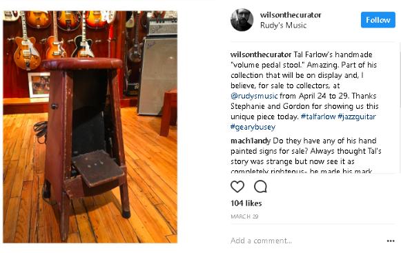 Photo: Farlow's wooden stool with volume pedal