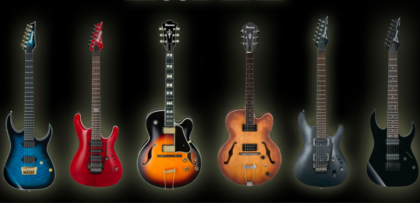 Photo of various Ibanez electric guitars. Ibanez was swiftly becoming the go-to for hard rock and heavy metal guitar soloists. In the 1980s Ibanez electric guitars began to truly shine.