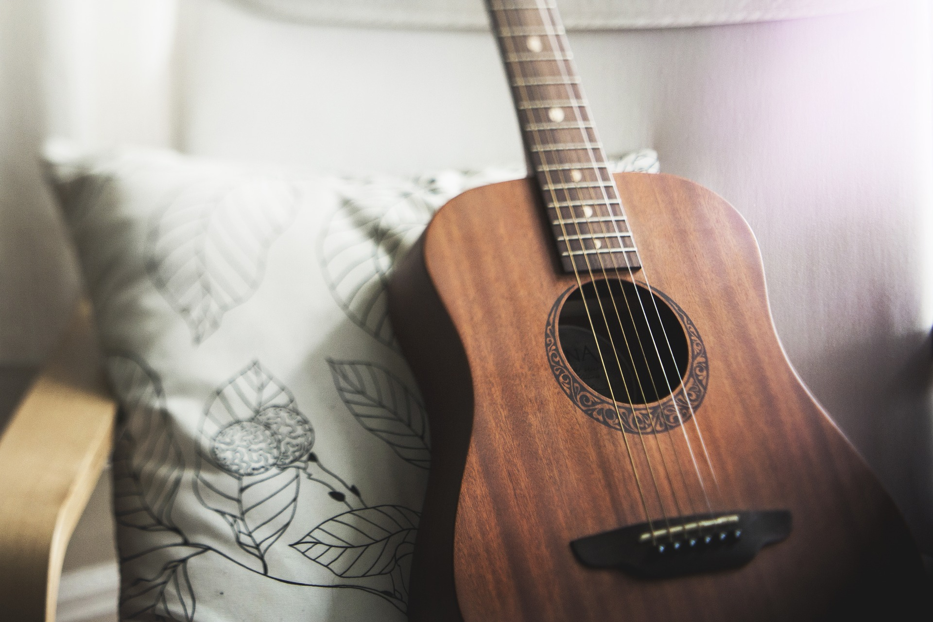 Guitar and a pillow
